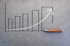 Rysować biznesowa prętowa mapa z ołówkiem Zdjęcia Stock