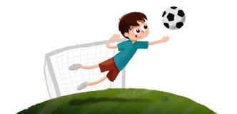Rysować chłopiec bawić się piłka nożna bramkarza royalty ilustracja