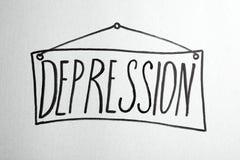 Rysować deska z pisać słowem depresja obraz stock