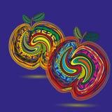 Rysować dwa jaskrawą brzoskwinię Zdjęcie Royalty Free
