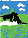 Rysować dwa spadał w miłość psie na picnicking Zdjęcie Stock