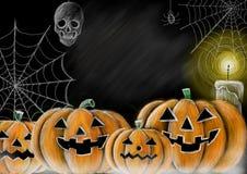 Rysować Halloweenowego bani, pajęczyny, pająka, czaszki i świeczki chalkboard styl z kopii przestrzenią dla twój tekstów, Fotografia Stock