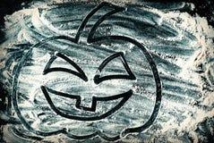 Rysować Halloweenowy bani głowy dźwigarki lampion na pszenicznej mąki tle obrazy stock