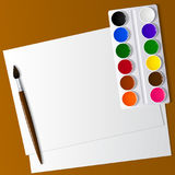 Rysować i twórczość Artystyczni urządzenia na desktop Akwareli farby, muśnięć i białego papier, na widok Backgroun ilustracja wektor