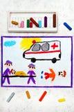 rysować: karetka i sanitariuszi wypadkowa ofiara ilustracja wektor