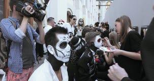 Rysować makeup nieboszczyk lub czaszka zdjęcie wideo