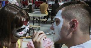 Rysować makeup nieboszczyk lub czaszka zbiory wideo