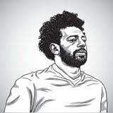 Rysować Mo Salah portreta kreskówki karykatury Wektorowa ilustracja Czerwiec 5, 2018 ilustracji