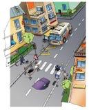 Bezpieczeństwo na drogach. Ulica. Rysować. Fotografia Royalty Free