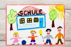 Rysować: Niemiecki słowo szkoła, budynek szkoły i szczęśliwi dzieci, pierwszy dzień szkoły Obrazy Stock