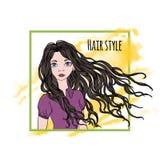 Rysować piękna dziewczyna z długim ciemnym włosy na białym tle Duzi niebieskie oczy, czerwone wargi i kędzierzawy włosy, hairball royalty ilustracja