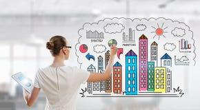 Rysować plan biznesowego Mieszani środki Fotografia Stock