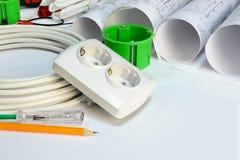 Rysować rolki, elektryczni narzędzi narzędzia i Zdjęcia Stock