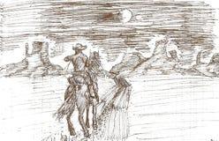 rysować samotny kowboj na księżyc w pełni nocy ilustracji