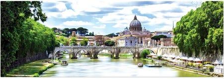 Rysować St Peter katedrę z mostem w Watykan, Rzym, Włochy panorama ilustracja wektor