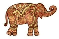 Rysować stylizowanego słonia Freehand nakreślenie dla dorosłej antej stres kolorystyki książki ilustracji