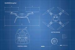 Rysować truteń Przemysłowy projekt pulpit operatora quadrocopter Przód, odgórny widok ilustracja wektor