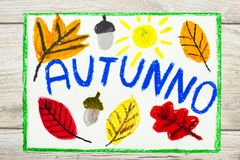 Rysować: Włoska słowo jesień, pomarańcze liście i acorn, Obrazy Stock