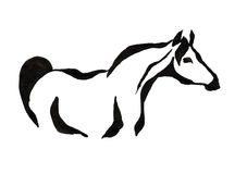 Rysować z czarnym atramentem na białym tle - stylizowany wizerunek a fotografia royalty free