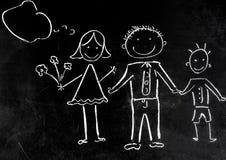 Rysować z kredą na czarnym tle rodzina Zdjęcia Royalty Free