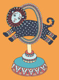 Rysować cyrkowy temat - lew skacze przez a Zdjęcie Stock