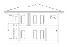 Rysować 3D domowy budynek & x28; boczny view& x29; Zdjęcia Royalty Free