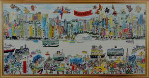 Rysować HongKong Victoria schronienie Obrazy Royalty Free