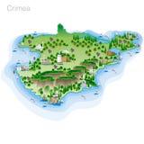 Rysować koloru Crimea turystyczna mapa Fotografia Stock