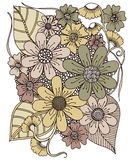 Rysować kwiatu Retro projekt ilustracji