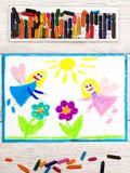Rysować: Powabne czarodziejki i kwiaty Magiczna ziemia Zdjęcia Royalty Free