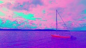 Rysowna, Å›wiÄ…teczna łódź w porcie na chmurnym niebie i tle horyzontu w stylu malarskim zdjęcie wideo