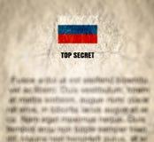 Ryssöverkant - hemligt dokument texturerat skrynkligt papper royaltyfri bild