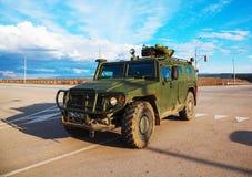 Ryss armerad lastbil i Krim, Ukraina Arkivbild