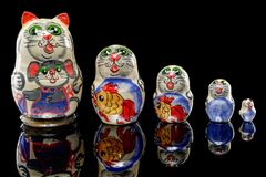 Ryss Cat Nesting Doll royaltyfria foton