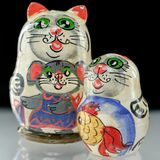 Ryss Cat Nesting Doll royaltyfri bild