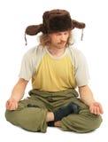 ryss för haired lång man för locköra meditera royaltyfri fotografi