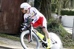 RyssEgor Silin cyklist Fotografering för Bildbyråer