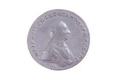 Ryssen en rouble myntar av århundrade 18 med den Petr III ståenden på Royaltyfri Foto