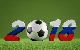 2018 Ryssland - en fotbollboll som föreställer 0en Royaltyfria Foton