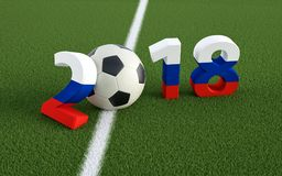 2018 Ryssland - en fotbollboll som föreställer 0en Arkivfoton
