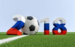 2018 Ryssland - en fotbollboll som föreställer 0en Arkivfoto