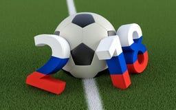 2018 Ryssland - en fotbollboll som föreställer 0en Arkivbild