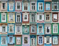 Ryssland Fönstren av staden Gorodets Arkivfoton