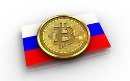 Ryssland för bitcoin 3d flagga Arkivbild