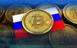 Ryssland för bitcoin 3d flagga Fotografering för Bildbyråer