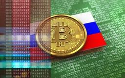 Ryssland för bitcoin 3d flagga Arkivfoton
