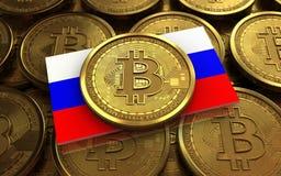 Ryssland för bitcoin 3d flagga Royaltyfria Bilder