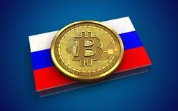 Ryssland för bitcoin 3d flagga Royaltyfri Fotografi