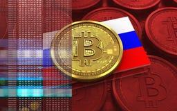 Ryssland för bitcoin 3d flagga Arkivfoto