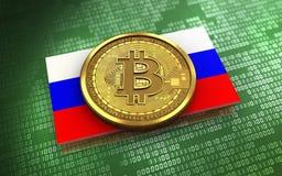 Ryssland för bitcoin 3d flagga Royaltyfri Foto